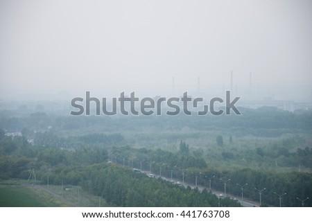 Bad ecology smoke on the city - Ust-Kamenogorsk, Kazakhstan - stock photo