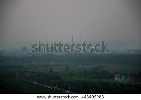 Bad ecology smoke on the city - Ust-Kamenogorsk, Kazakhstan