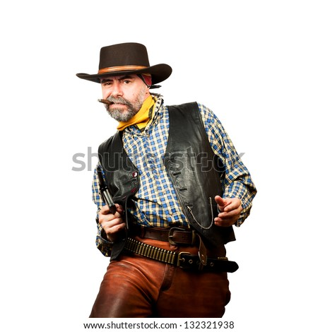 bad guy robs bank on white square background - stock photo