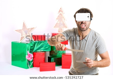 Bad man with a provocation gesture at christmas