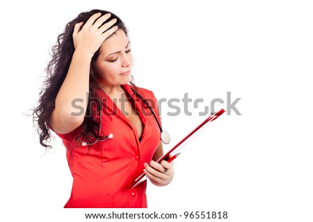 Bad news for a  professional young nurse or medical woman  doctor with big breasts, wearing tangerine tango orange uniform dress ,with clipboard. Isolated on white background with text space. - stock photo