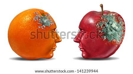 Bad partnership and mind control with an apple and an orange shaped as a human head with rotting mold as a business symbol of a brain or infection that is deteriorating a once strong partnership. - stock photo