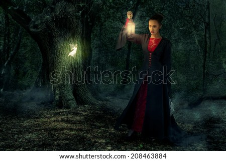 Bad queen catching fairies fairy-tale - stock photo