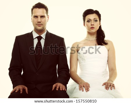 Bad relationship concept - married couple problem indifference depression and discord. Man woman in disagreement. Vintage photo - stock photo