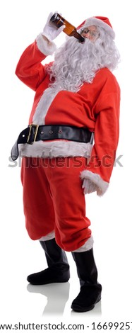 Bad santa drunk drinking out of beer bottle isolated on a white background - stock photo
