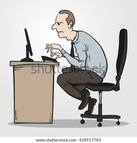 Bad sitting posture as the reason for office syndrome. Hand drawn illustration