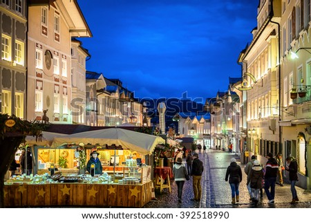 BAD TOELZ, GERMANY - DECEMBER 25: people at the famous christmas market on December 25, 2014 in Bad Toelz, Germany - stock photo