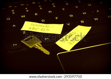Bad, weak, invalid password on the sticky notes and security key on laptop keyboard - stock photo