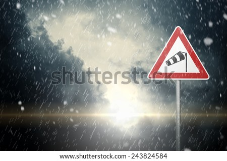 Bad Weather - Caution - Risk of Wind, Snow and Ice - stock photo