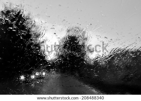 Bad Weather Driving on a Country Road with Oncoming Traffic - stock photo
