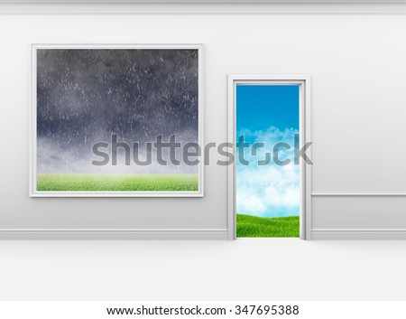 Bad weather on the wall in frame and good outside door.