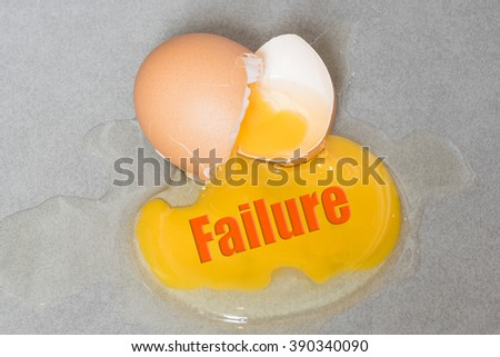 Bad wording on Egg drop crack splattered down on ceramic tile. Abstract concept for unsuccessful things  - stock photo