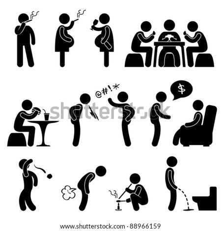 Bad Wrong behaviors Habit Lifestyle Icon Symbol Sign Pictogram