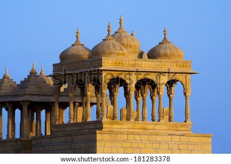 Bada Bagh Cenotaph in Jaisalmer, Rajasthan, India - stock photo