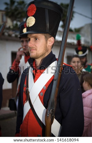 BADAJOZ REGION, SPAIN - MAY 18: Re-enactment of Albuera battle between French and allied nations armies (England, Spain and Portugal), in 1811. May 18, 2013 in La Albuera, Badajoz, Spain
