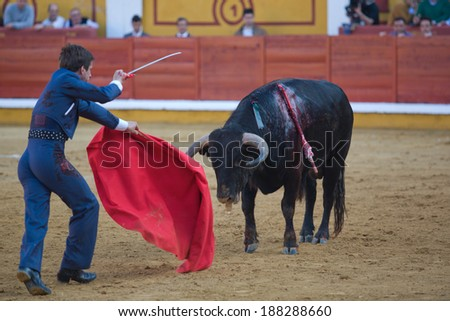 BADAJOZ, SPAIN, APRIL 12: The spanish torero El Juli performing a bullfight, on April 12, 2014 in Badajoz, Spain
