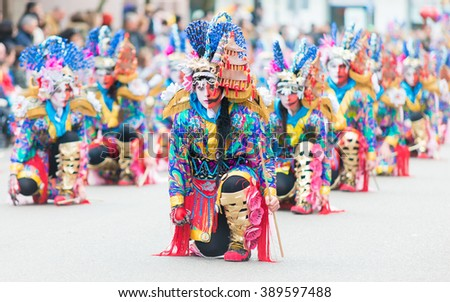 Badajoz, Spain - february 7, 2016:Performers take part in the Carnival parade of comparsas at Badajoz City.