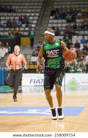 BADALONA, SPAIN - APRIL 13: Tariq Kirksay of Joventut in action at Spanish Basketball League match between Joventut and Zaragoza, final score 82-57, on April 13, 2014, in Badalona, Spain. - stock photo