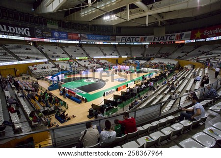 BADALONA, SPAIN - APRIL 13: View of Joventut Olympic Stadium before the Spanish Basketball League match between Joventut and Zaragoza, final score 82-57, on April 13, 2014, in Badalona, Spain. - stock photo