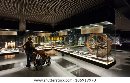 BADALONA, SPAIN - FEBRUARY 16, 2014: Exhibits of Badalona Roman Museum.  Museum was opened in 1966, one can visit the remains of the Roman city of Baetulo underneath underground
