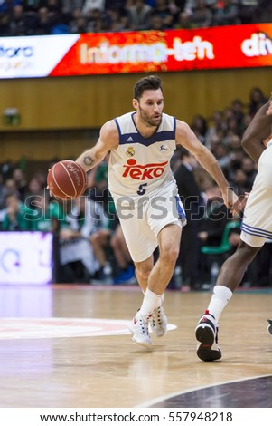 BADALONA, SPAIN - JANUARY, 2017: Some players in action at Spanish ACB Basketball League match between Joventut and Real Madrid, final score 78 - 81, on Jan 15, 2017, in Badalona, Spain.