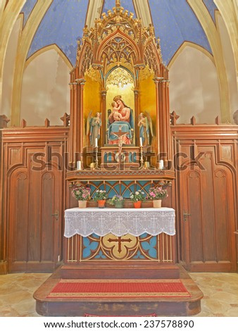 BADEN BEI WIEN, AUSTRIA - 14 DECEMBER 2014: The altar of the Cholerakapelle, which was donated after a cholera outbreak in the 19th century.  The chapel is currently being renovated.  - stock photo