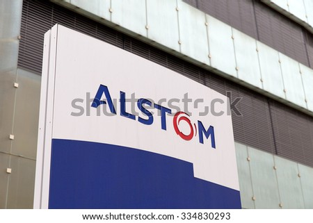 BADEN, SWITZERLAND. October 31, 2015. Last days of the Alstom logo in front of the building of thermal power headquarters before merger and acquisition of General Electric on 2nd November 2015.
