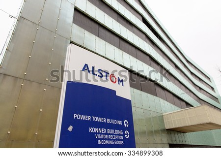 BADEN, SWITZERLAND. October 31st, 2015. Last days of the Alstom logo in front of the building of thermal power headquarters before merger and acquisition of General Electric on 2nd November 2015.