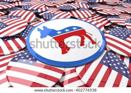 Badge against badges with american flag - stock photo