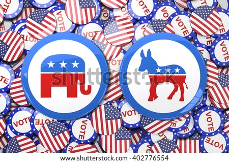 Badge against vote button - stock photo