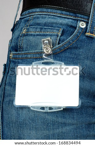 Badge attached to jeans - stock photo