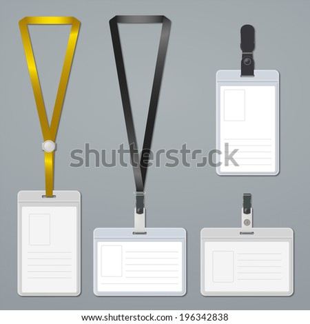 Badge, clip and lanyard templates. Rasterized version.
