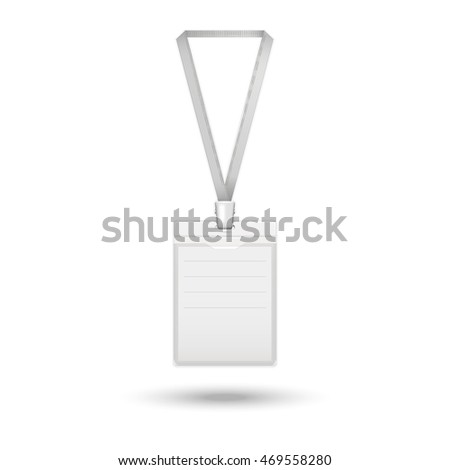 Badge icon. realistic identification card on the ribbon isolated on a white background with shadow