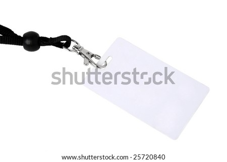 Badge ID isolated against white background - stock photo
