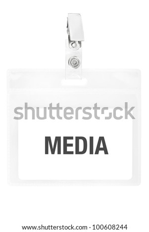 Badge or ID pass isolated on white background, clipping path included - stock photo