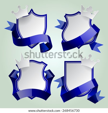 Badge set with blue ribbon and paper crown. Retro design elements. Contain the Clipping Path - stock photo