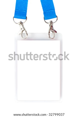 Badge with holders and blue straps isolated over white background