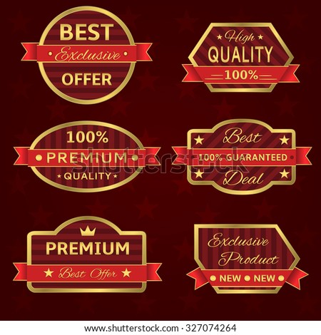 Badges and labels in golden frames with red ribbons. Raster version - stock photo