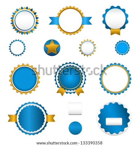 Badges, labels and stickers without text on retail. Designed in blue colors. Raster version.