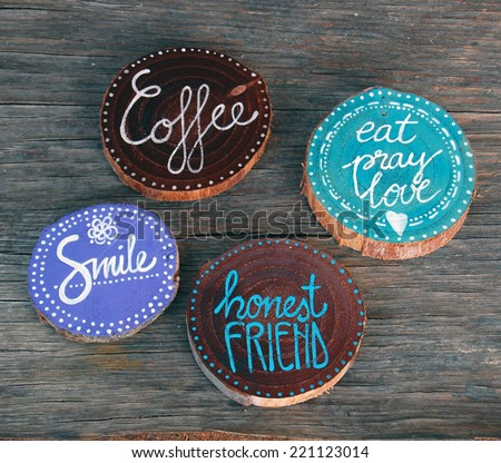Badges with words smile, coffee, honest friend - stock photo