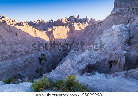 Badlands Landscape - National Park South Dakota  - stock photo