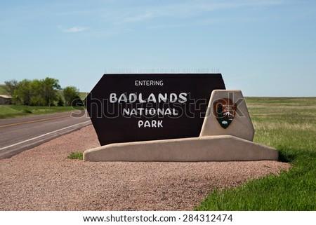 Badlands National Park Sign - stock photo