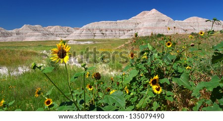 Badlands National Park - South Dakota - stock photo