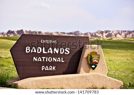 Badlands National Park South Entrance Sign. American National Parks Photography Collection.