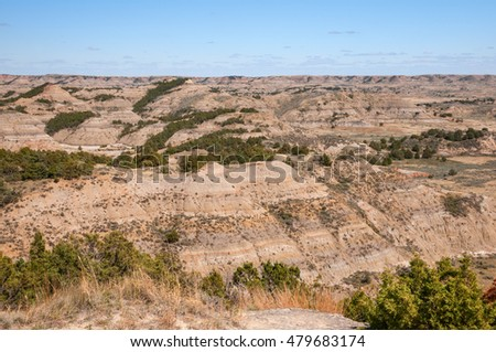 Badlands of the Theodore Roosevelt National Park in North Dakota.