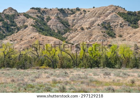 Badlands scenery of Theodore Roosevelt National Park North Dakota. - stock photo