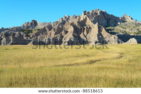 Badlands wall - stock photo