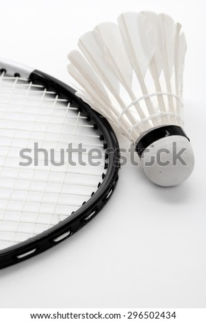 Badminton and Racket close up - stock photo