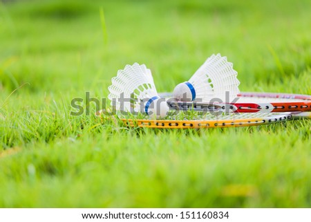 Badminton Equipment On Grass - stock photo