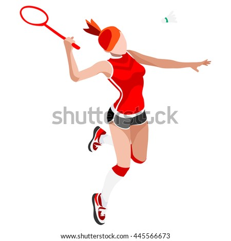 Badminton Player 2016 Summer Games Icon Set.3D Isometric Badminton Player.Sporting Championship International Badminton Competition.Olympics Sport Infographic Badminton Illustration